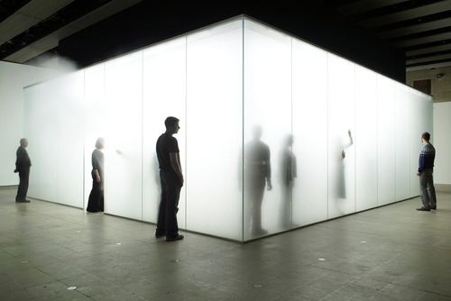 Visitors in Light Installation by artist, Antony Gormley at Hayward Gallery