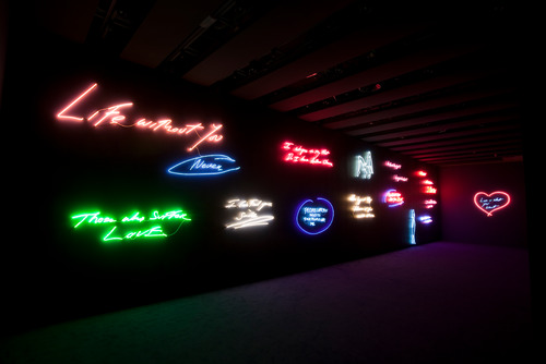 Different Coloured Neons by artist, Tracey Emin at Hayward Gallery