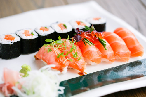 Close-up images of sushi dishes from Feng Sushi, Southbank Centre