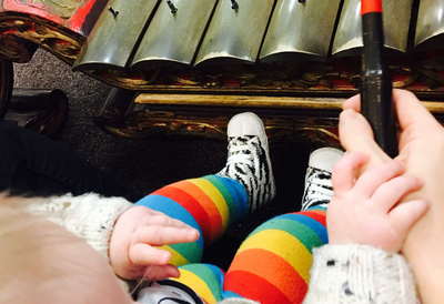 Baby and Mother Playing the Gamelan