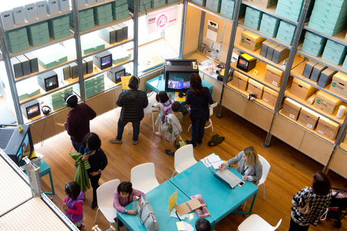 Public engaging with the Southbank Centre's Archive Studio