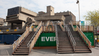 Stairs leading up to the Hayward Gallery entrance at the Southbank Centre