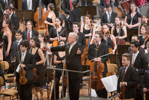Barenboim on stage with orchestra