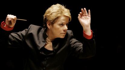 Close-up of Marin Alsop conducting at the Southbank Centre