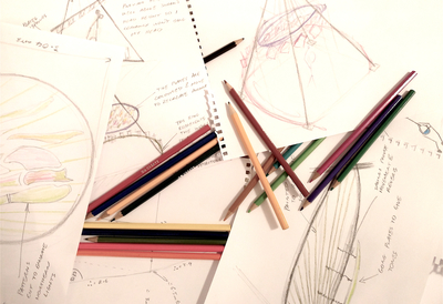 image of Pencils and Sketches on Paper