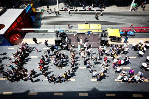 People on the Royal Festival Hall Terrace forming the word LOVE