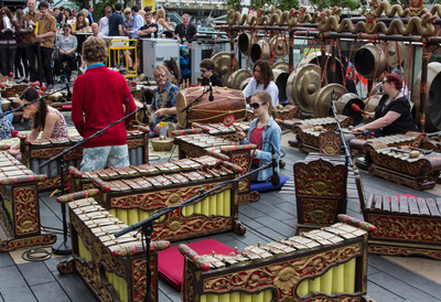 Gamelan Players outside on Royal festival Hall Terrace