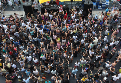 crowd and singer outdoors