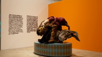 Giant Donkey and Bear Puppets by artist, Gimhonsok at Laughing in a Foreign Language Exhibition Hayward Gallery