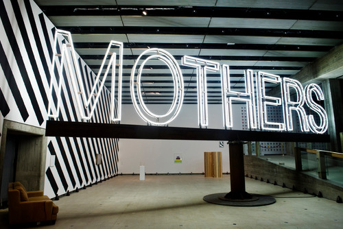 Giant, Neon Mothers Sign by Martin Creed at Hayward Gallery
