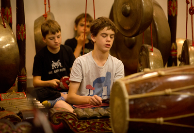 Boys Playing the Gamelan