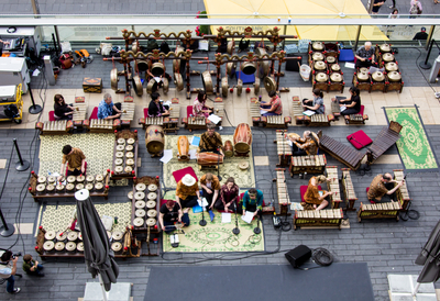 Photo of gamelan players on Festival Terrace at Southbank Centre
