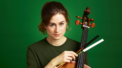Photo of cellist Luise Buchberger of the Orchestra of Age of Enlightenment to promote their performance of The Judas Passion at Southbank Centre