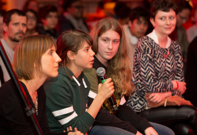 Young Girl in Audience Speaking