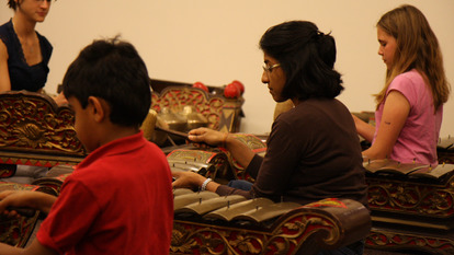 Mother and son at Family Gamelan Taster Session