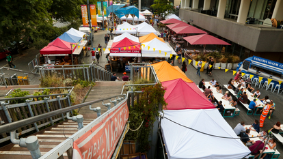 Aerial Views of the Southbank Centre Food Market