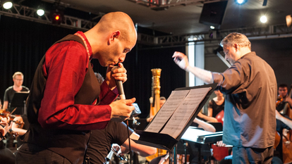 MaJiker performs Anna Meredith's Concerto for Beatboxer and Orchestra in The Clore Ballroom as part of New Music Biennial, 2017