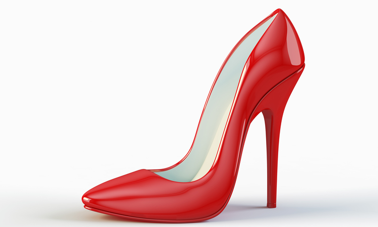 Red Glossy High Heel shoe isolated on white