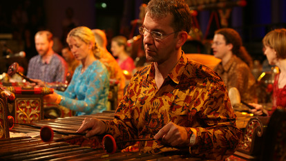 Man taking part in Gamelan Advanced Course