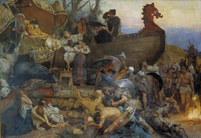 Painting of Viking burial boat