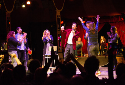 Literary Death Match, literary and comedic stars on stage