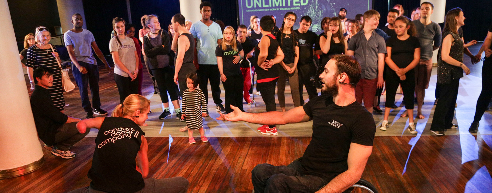Performers part of the Unlimited Youth Dance Platform in action at Royal Festival Hall