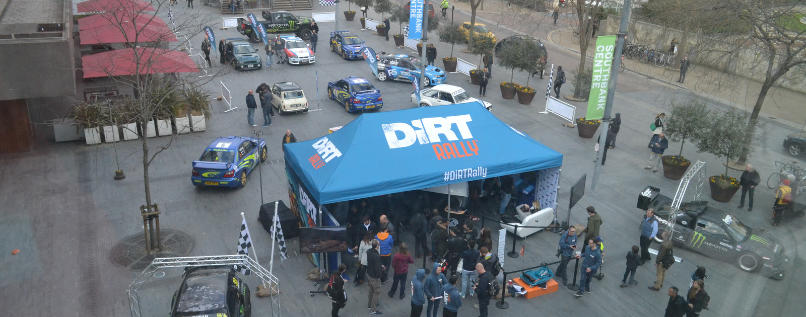 Bird's-eye view of the Dirt Rally experience at the Southbank Centre