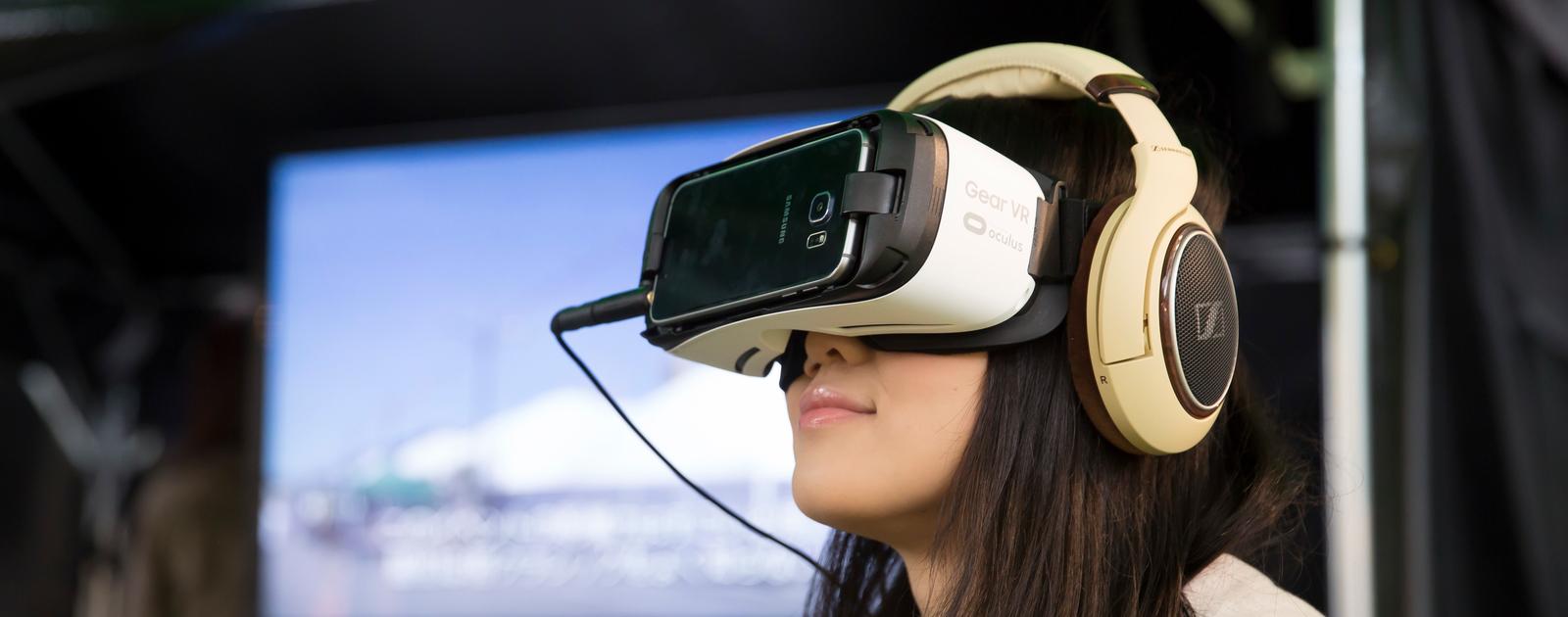 Girl in VR goggles