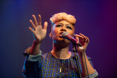 Singer Emeli Sandé on stage during WOW festival at the Southbank Centre