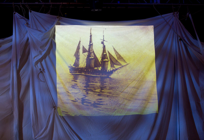 Projection of a sea painting at Southbank Centre's Songs of the Sea