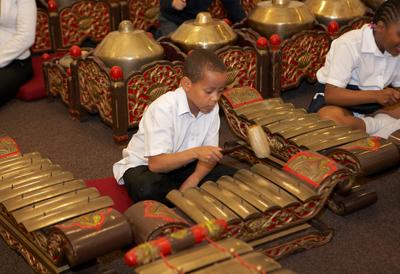 School Boy playing the Gamelan