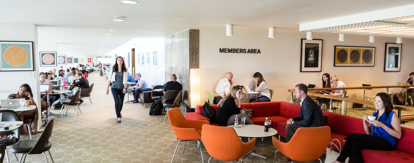Members in the member's area of the Southbank Centre
