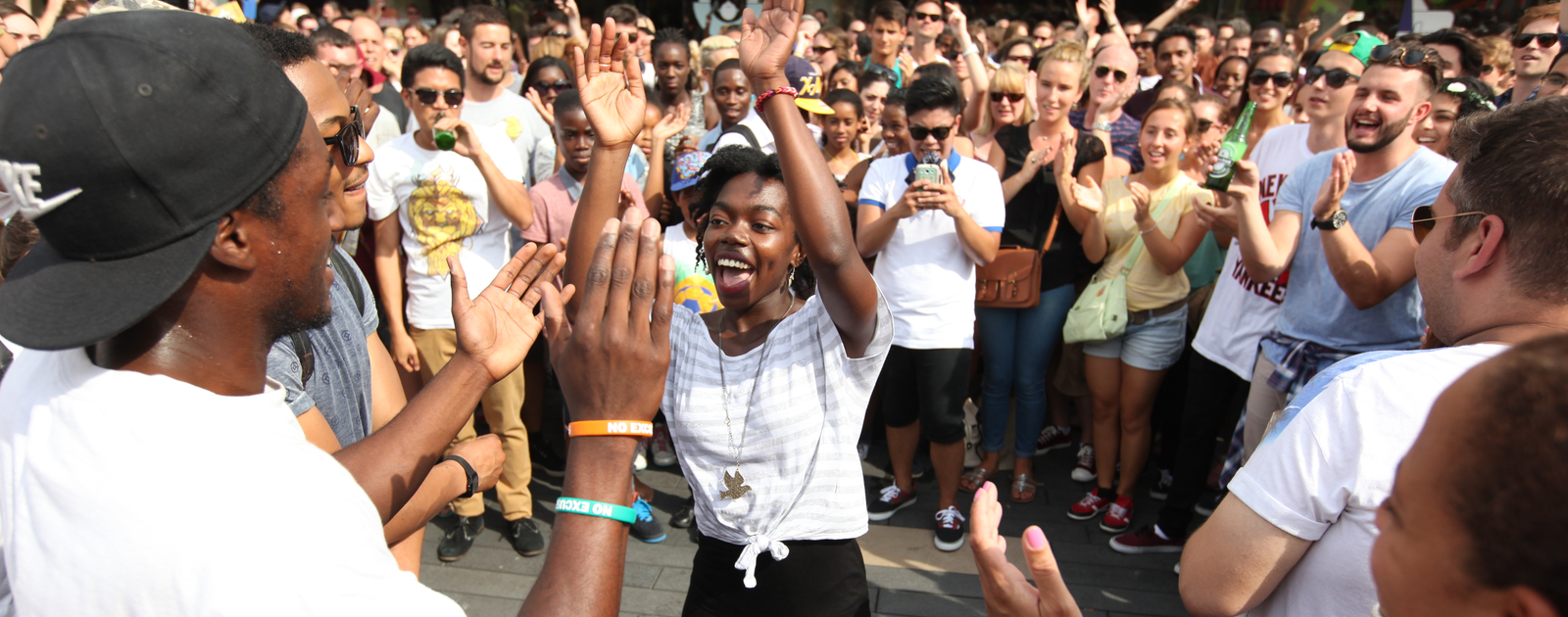 Photo of people dancing on Festival Terrace at Southbank Centre