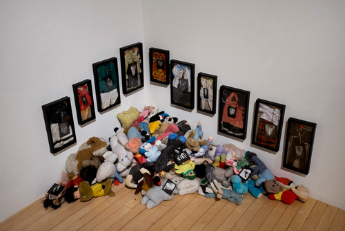 Stuffed Toys and Clothes in Frames by artist, Annette Messager at Hayward Gallery