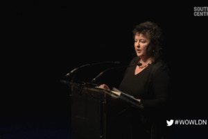 Still from video of Carol Ann Duffy talking at WOW 2014