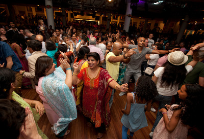 People dancing at the Punjabi party during Alchemy Festival at the Southbank Centre