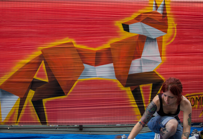 Artist working at Southbank Centre's Street Art event