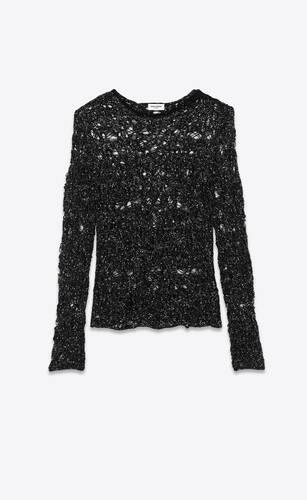 knit sweater with rhinestone webs