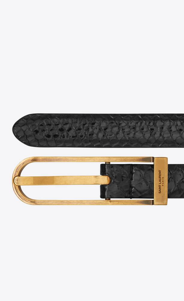 narrow lock belt in lacquered python