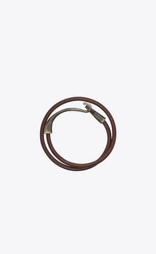 bracelet double tour hook en cuir craquelé