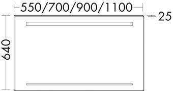 SPIEGEL M/LED 110X64X2.5 ALU