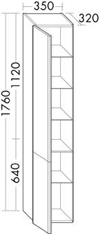 HOGEKAST 2DR-L 35X176X32 GLWIT