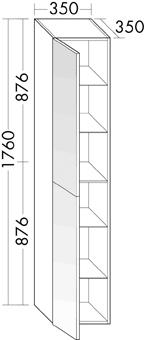 HOGEKAST 2DR-L SPIEG 35CM GLWI